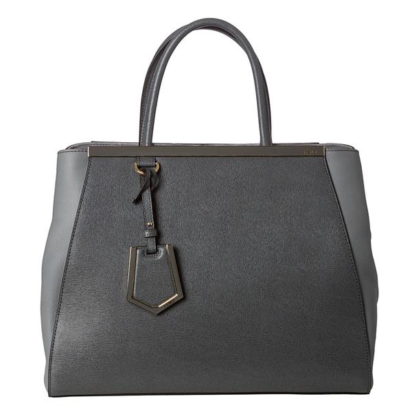 Fendi Women's '2Jours' Grey Saffiano and Vitello Leather Medium Shopper Bag