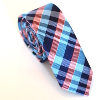 Skinny Tie Madness Men&#39;s Blue and Red Plaid Slim Tie