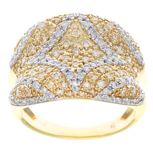 D'sire 10k Gold 1 1/5ct TDW Yellow and White Diamond Ring (H-I, SI2)