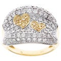 D'sire 10k Gold 1 3/8ct TDW Pave Yellow and White Diamond Hearts Ring (H-I, SI2)