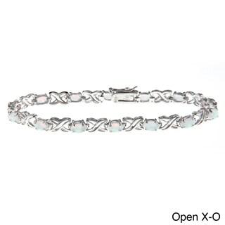 La Preciosa Sterling Silver Created Opal and Cubic Zirconia Bracelet