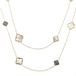 La Preciosa Goldplated Sterling Silver Mother of Pearl Clover Necklace