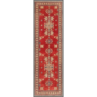 Afghan Hand-knotted Kazak Red/ Ivory Wool Rug (3'4 x 11'5)