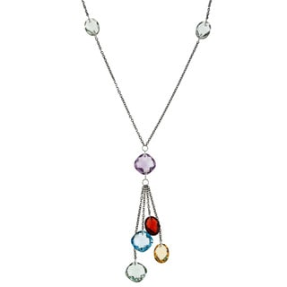 La Preciosa Sterling Silver Multi-gemstone 'Y' Necklace