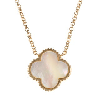 La Preciosa Gold over Silver Mother of Pearl Clover Necklace