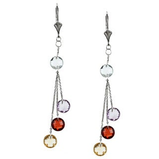 La Preciosa Sterling Silver Multi-gemstone Dangle Earrings