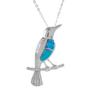 La Preciosa Sterling Silver Created Blue Opal Bird Necklace