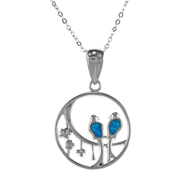 La Preciosa Sterling Silver Created Blue Opal Open Circle Bird Necklace
