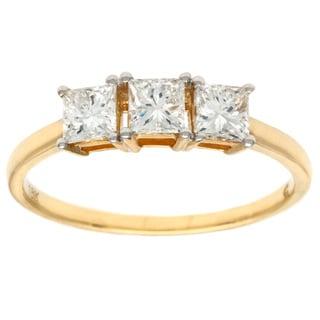 D'sire 18k Yellow Gold 7/8ct TDW Diamond 3-stone Ring (G-H, SI1-SI2)