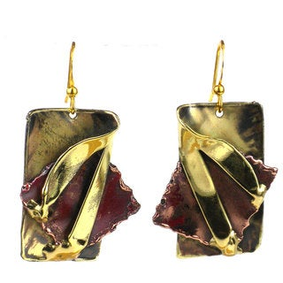 Handcrafted Layered Leaf Copper and Brass Earrings (South Africa)