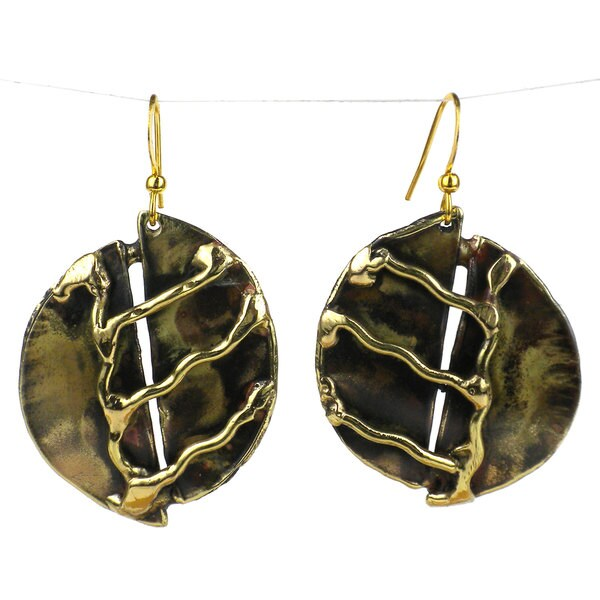 Handcrafted A River Runs Brass Earrings (South Africa)