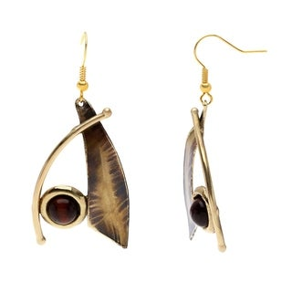 Handcrafted Blade And Red Tiger Eye Brass Earrings (South Africa)