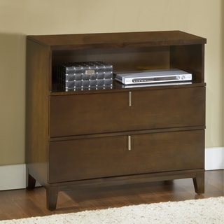 Reverse Bowfront Chocolate Brown 2-drawer Media Chest
