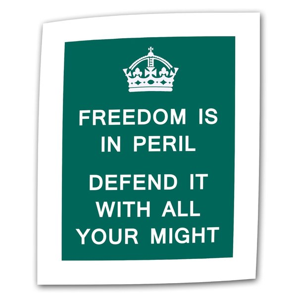 The United Kingdom 'Freedom is in Peril Defend it with All Your Might' Flat Canvas