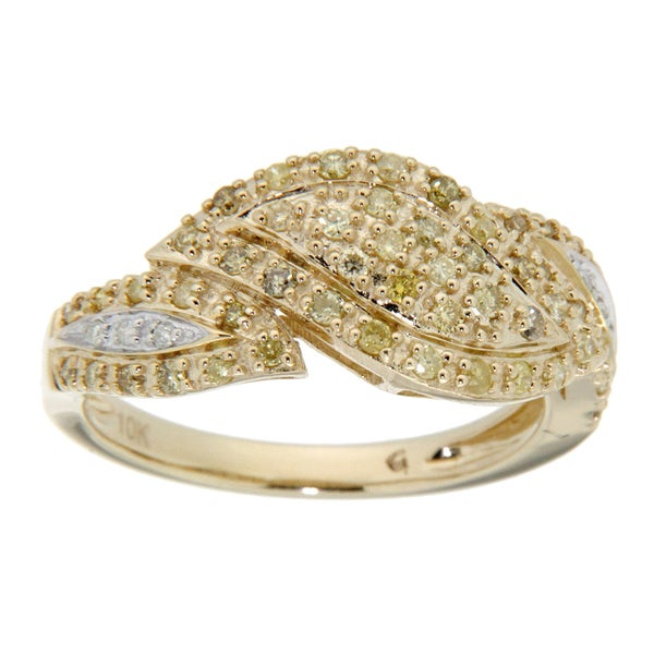 D'sire 10k Gold 1/2ct TDW Yellow and White Diamond Ring (H-I, SI2)