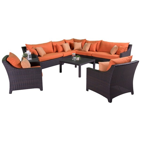 RST Outdoor 'Tikka' 9-Piece Corner Sectional Sofa and Club Chairs Patio Furniture Set 10537255