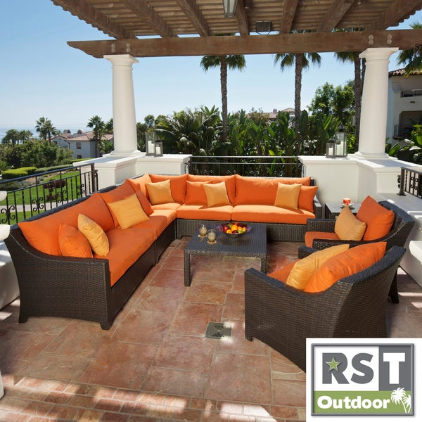 RST Outdoor Tikka 9 Piece Corner Sectional Sofa and Club Chairs Pat
