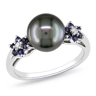 Miadora 10k White Gold Tahitian Pearl, Sapphire and Diamond Ring