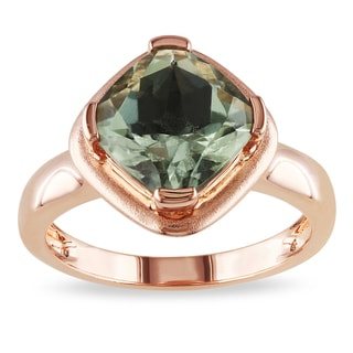 Miadora Rose Plated Silver Green Amethyst Cocktail Ring