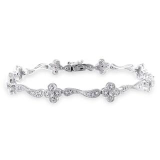 Miadora 14k White Gold 1/3ct TDW Diamond Bracelet (H-I, I1-I2) with Bonus Earrings