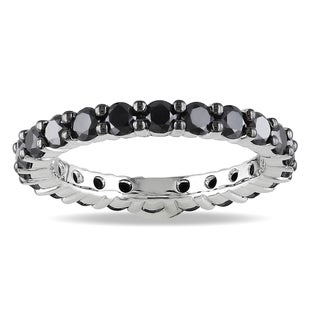 14k White Gold 2ct TDW Black Diamond Eternity Ring