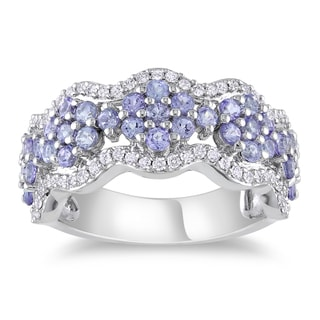 14k White Gold Tanzanite and 1/3ct TDW Diamond Ring (G-H, SI1-SI2)