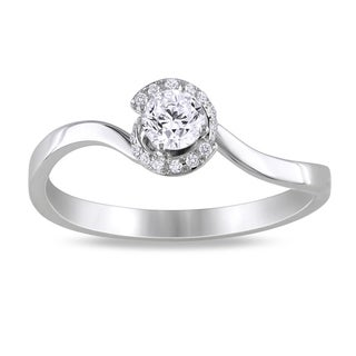 Miadora  14k White Gold 1/3ct TDW Diamond Engagement Ring (G-H, SI1-SI2)