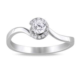 Miadora  14k White Gold 1/3ct TDW Diamond Engagement Ring (G-H, SI1-SI2) with Bonus Earrings