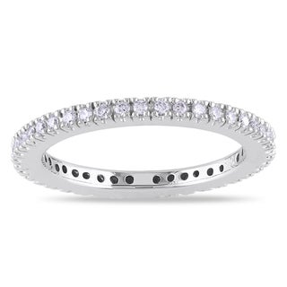 Miadora  14k White Gold 1/4ct TDW Diamond Eternity Ring (G-H, SI1-SI2) with Bonus Earrings