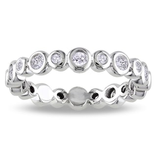 14k White Gold 1/2ct TDW Diamond Bezel Eternity Ring (G-H, SI1-SI2)