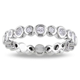 14k White Gold 1/2ct TDW Diamond Bezel Eternity Ring (G-H, SI1-SI2)