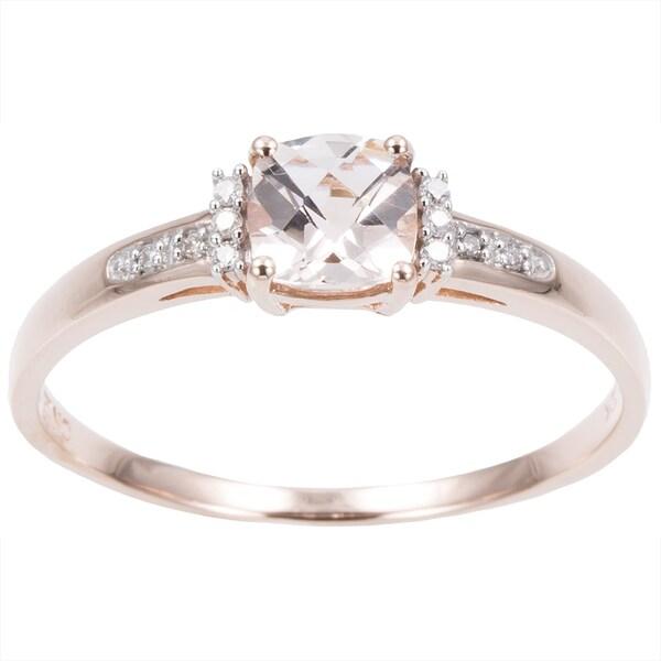 Miadora 10k Rose Gold Morganite and Diamond Accent Ring