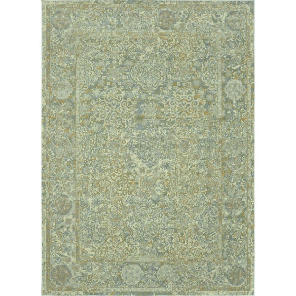 Royalty Beige/ Blue Rug (5'2 x 7'7)
