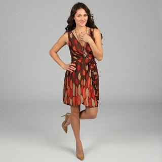 CeCe's New York Women's Brown Printed Tie Front Dress