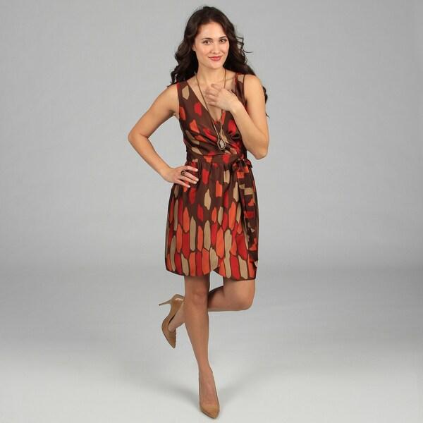 CeCe's New York Women's Brown Printed Tie Front Dress