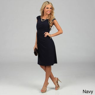 Connected Apparel Women's Cap Sleeve Side-drape Dress