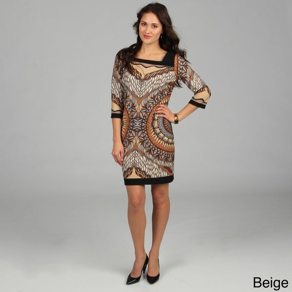 Women's Pink 3/4 Sleeve Mosaic Printed Dress