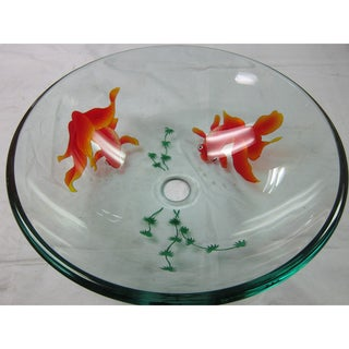 Clear Gold Fish Modern Glass Vessel Bathroom Sink