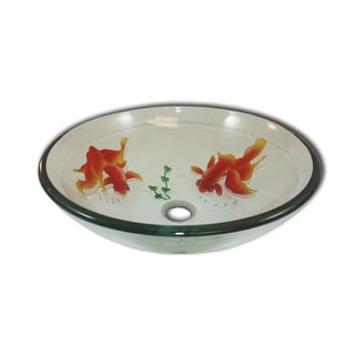 Flotera Twin Goldfish Glass Vessel Bathroom Sink