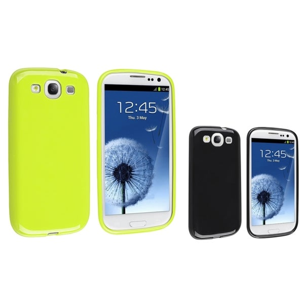 INSTEN Green TPU Phone Case Cover/ Black TPU Phone Case Cover for Samsung Galaxy S III/ S3
