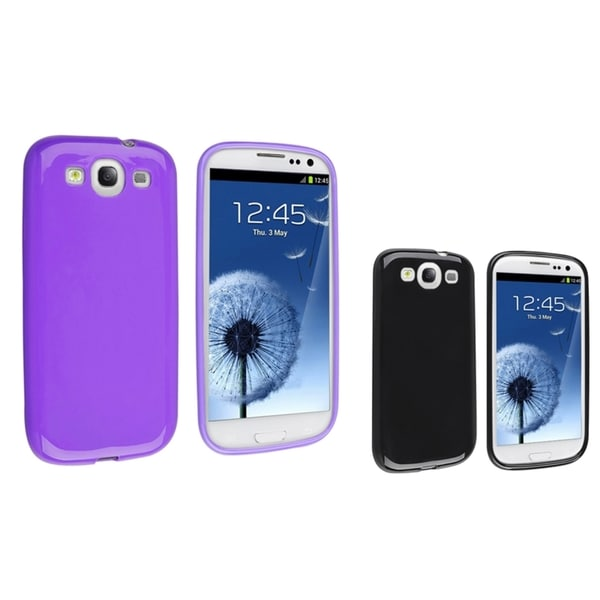INSTEN Black TPU Phone Case Cover/ Purple TPU Phone Case Cover for Samsung Galaxy S III/ S3