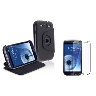 BasAcc Leather Flip Case/ LCD Protector for Samsung Galaxy S III/ S3