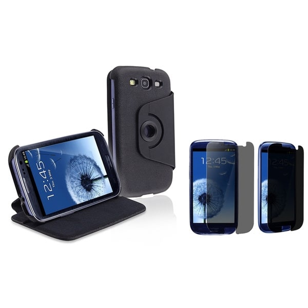 INSTEN Flip Phone Case Cover/ Privacy LCD Protector for Samsung Galaxy S III/ S3