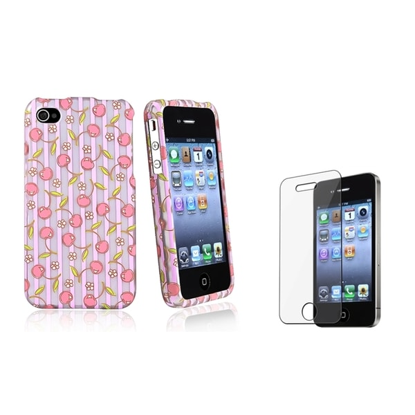 BasAcc Pink Cherries/ Purple Case/ Protector for Apple iPhone 4/ 4S