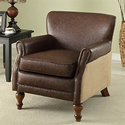 Antique Brown Leather and Natural Jute Club Chair