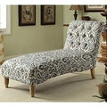 Tufted Blue iKat Fabric Chaise Lounge