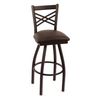 Cambridge Black Vinyl Extra Tall Lattice-back Swivel Barstool