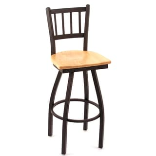 Cambridge Natural Oak Extra Tall Vertical Slat-back Swivel Barstool