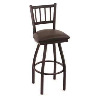 Cambridge Black Vinyl Extra Tall Horizontal Slat-back Swivel Barstool