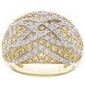 D'sire 10k Yellow Gold 1ct TDW Pave Yellow and White Diamond Ring (H-I, SI2)